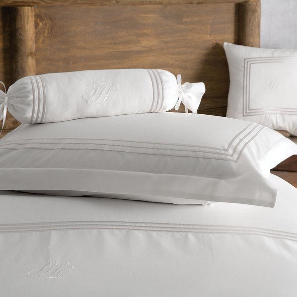 Комплект постельного белья Tivolyo Home LINE хлопковый люкс-сатин (кремовый+бежевый) евро-макси, фото, фотография
