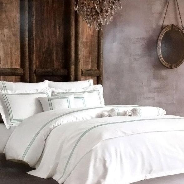 Комплект постельного белья Tivolyo Home LINE хлопковый люкс-сатин (кремовый+бирюзовый) евро, фото, фотография