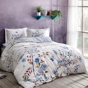 Постельное белье TAC HAPPY DAYS LINDY хлопковый сатин голубой 1,5 спальный