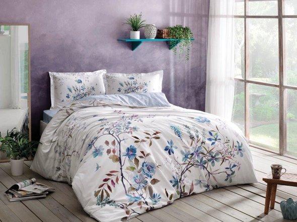 Комплект постельного белья TAC HAPPY DAYS LINDY хлопковый сатин (голубой) семейный, фото, фотография