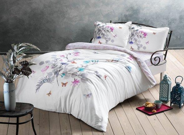 Комплект постельного белья TAC HAPPY DAYS SADLER хлопковый сатин (светло-серый) 1,5 спальный, фото, фотография
