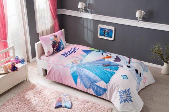 Комплект детского постельного белья TAC FROZEN PINK хлопковый ранфорс 1,5 спальный, фото, фотография