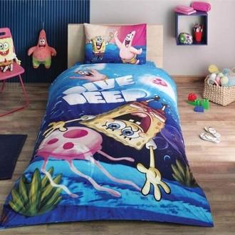 Комплект детского постельного белья TAC SPONGE BOB DIVE DEEP хлопковый ранфорс