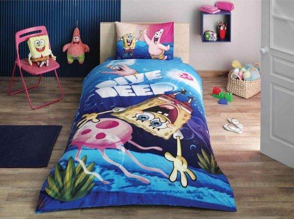 Комплект детского постельного белья TAC SPONGE BOB DIVE DEEP хлопковый ранфорс 1,5 спальный, фото, фотография