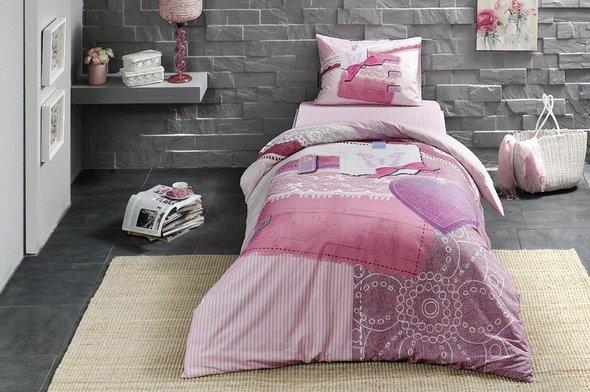 Комплект подросткового постельного белья TAC SHERLY хлопковый ранфорс (пудра) евро, фото, фотография