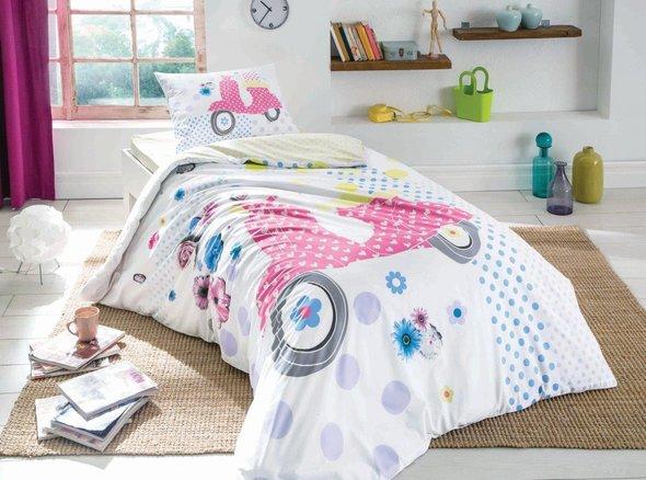 Комплект подросткового постельного белья TAC VESPA хлопковый ранфорс (жёлтый) евро, фото, фотография