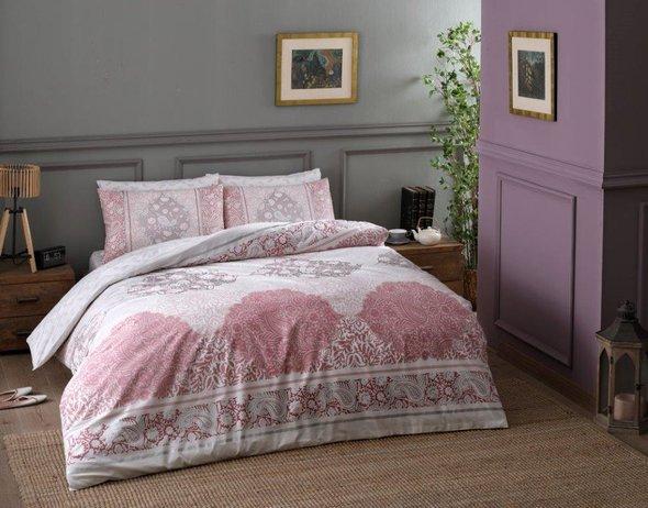 Комплект постельного белья TAC HAPPY DAYS ARYAN хлопковый ранфорс (пудра) семейный, фото, фотография