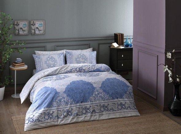 Комплект постельного белья TAC HAPPY DAYS ARYAN хлопковый ранфорс (голубой) семейный, фото, фотография