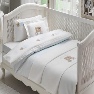Комплект постельного белья для новорожденных Tivolyo Home LOVELY BEBE хлопковый сатин (голубой)