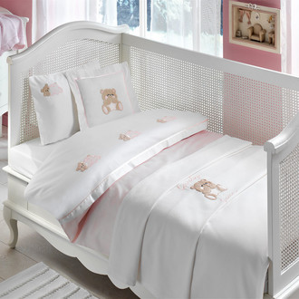 Комплект постельного белья для новорожденных Tivolyo Home LOVELY BEBE хлопковый сатин (розовый)