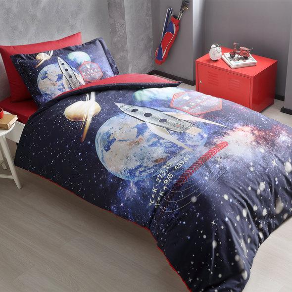 Комплект детского постельного белья Tivolyo Home MARS хлопковой сатин делюкс 1,5 спальный, фото, фотография