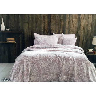 Махровая простынь-покрывало для укрывания Tivolyo Home FLAVIA хлопок (грязно-розовый)