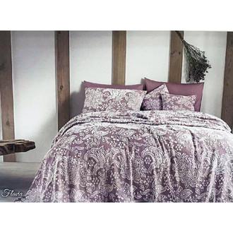 Махровая простынь-покрывало для укрывания Tivolyo Home FLAVIA хлопок лиловый