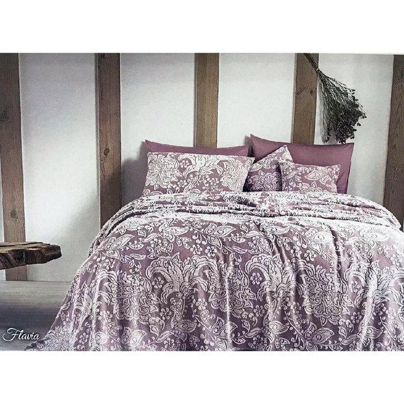 Махровая простынь-покрывало для укрывания Tivolyo Home FLAVIA хлопок (лиловый) 160*220, фото, фотография