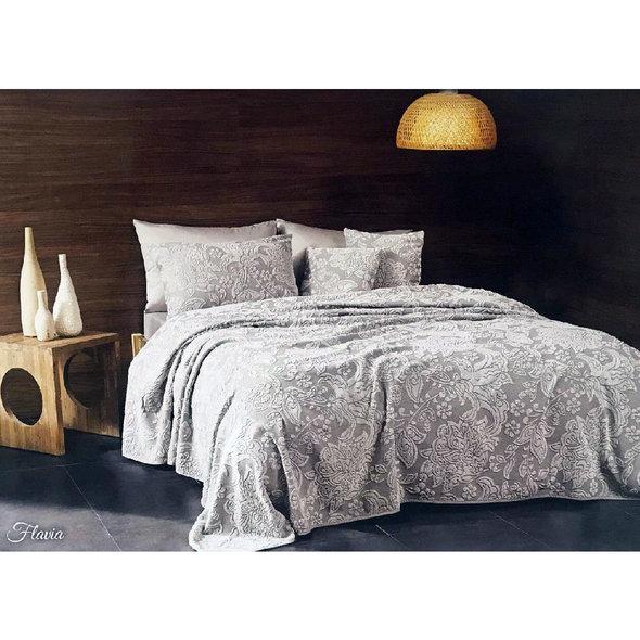 Махровая простынь-покрывало для укрывания Tivolyo Home FLAVIA хлопок (серый) 160*220, фото, фотография