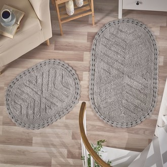 Набор ковриков Modalin CROSS хлопок 50х70, 60х100 серый
