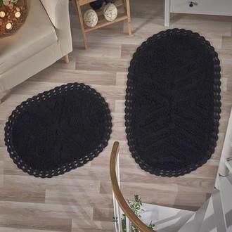 Набор ковриков Modalin CROSS хлопок 50*70, 60*100 (чёрный)