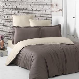 Постельное белье Karna LOFT хлопковый сатин коричневый+бежевый 1,5 спальный