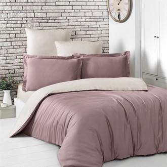 Постельное белье Karna LOFT хлопковый сатин грязно-розовый+бежевый