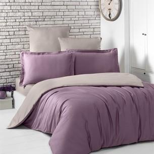 Постельное белье Karna LOFT хлопковый сатин светло-фиолетовый+капучино евро