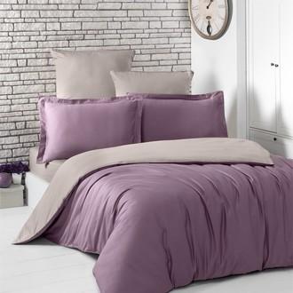 Комплект постельного белья Karna LOFT хлопковый сатин (светло-фиолетовый+капучино)