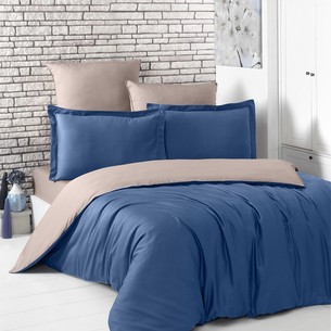 Постельное белье Karna LOFT хлопковый сатин синий+капучино евро