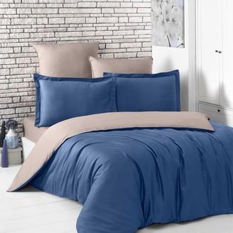 Комплект постельного белья Karna LOFT хлопковый сатин (синий+капучино)