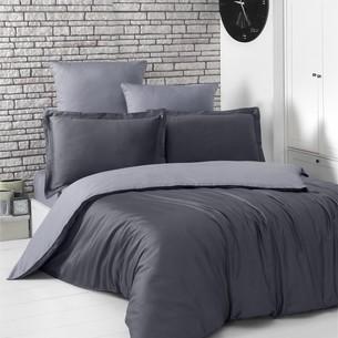 Постельное белье Karna LOFT хлопковый сатин тёмно-серый+серый евро