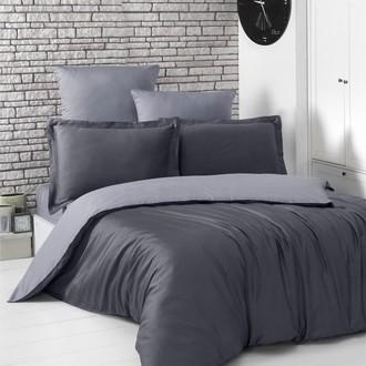 Постельное белье Karna LOFT хлопковый сатин тёмно-серый+серый