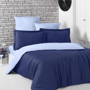 Постельное белье Karna LOFT хлопковый сатин тёмно-синий+голубой евро