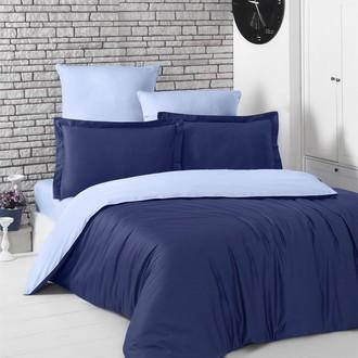 Постельное белье Karna LOFT хлопковый сатин тёмно-синий+голубой