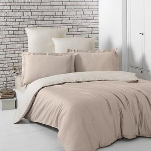 Постельное белье Karna LOFT хлопковый сатин кофейный+бежевый 1,5 спальный