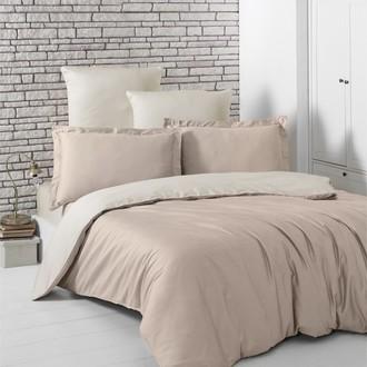 Комплект постельного белья Karna LOFT хлопковый сатин (кофейный+бежевый)