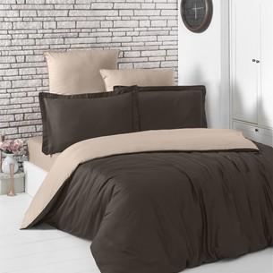 Постельное белье Karna LOFT хлопковый сатин шоколадный+кофейный 1,5 спальный