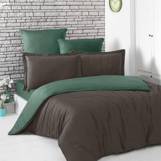 Постельное белье Karna LOFT хлопковый сатин шоколадный+зелёный