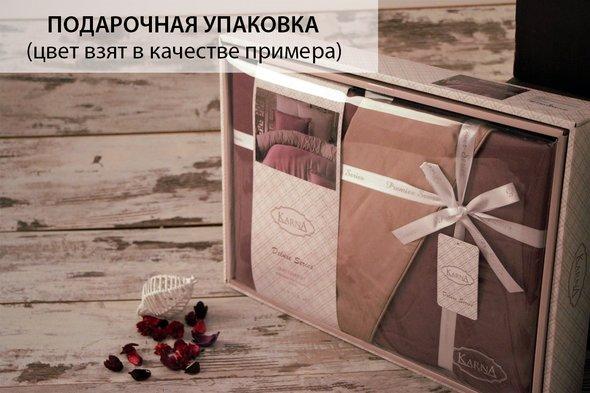 Постельное белье Karna LOFT хлопковый сатин шоколадный+зелёный евро, фото, фотография
