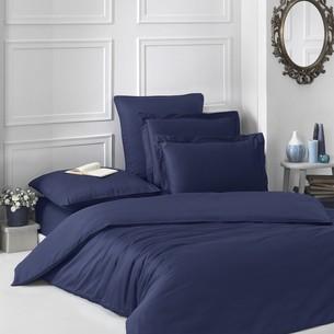 Постельное белье Karna LOFT хлопковый сатин тёмно-синий 1,5 спальный