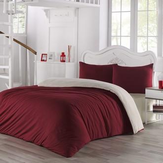 Комплект постельного белья Karna SOFA хлопковый трикотаж (кремовый+бордовый)