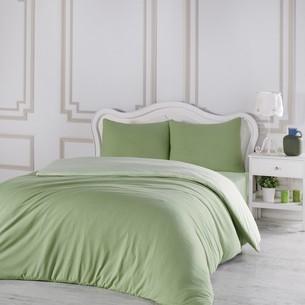 Постельное белье Karna SOFA хлопковый трикотаж зелёный+светло-зелёный евро