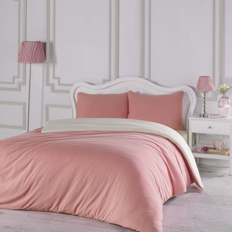 Комплект постельного белья Karna SOFA хлопковый трикотаж (коралловый+кремовый)