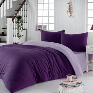 Постельное белье Karna SOFA хлопковый трикотаж фиолетовый+светло-лавандовый евро