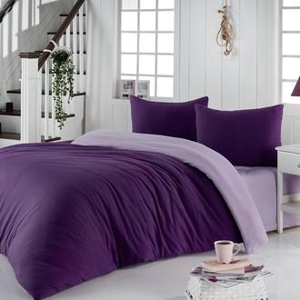 Постельное белье Karna SOFA хлопковый трикотаж фиолетовый+светло-лавандовый