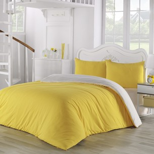 Постельное белье Karna SOFA хлопковый трикотаж жёлтый+кремовый евро