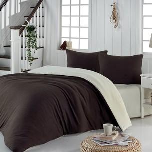 Постельное белье Karna SOFA хлопковый трикотаж коричневый+кремовый евро