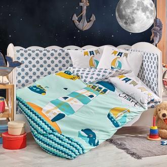 Комплект постельного белья для новорожденных Hobby Home Collection BABY SAILOR хлопковый поплин (минт)