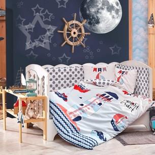 Набор в кроватку для новорожденных Hobby Home Collection BABY SAILOR хлопковый поплин синий