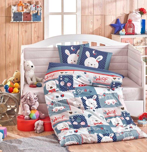 Набор в кроватку для новорожденных Hobby Home Collection SNOOPY хлопковый поплин (синий), фото, фотография