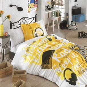 Комплект подросткового постельного белья Hobby Home Collection LIVE MUSIC хлопковый поплин жёлтый 1,5 спальный