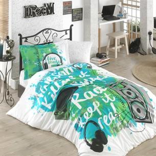 Комплект подросткового постельного белья Hobby Home Collection LIVE MUSIC хлопковый поплин зелёный 1,5 спальный