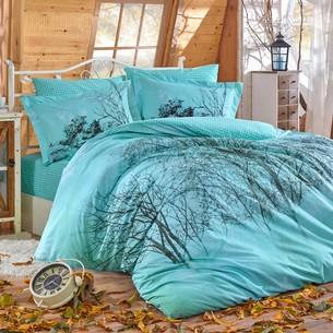 Постельное белье Hobby Home Collection MARGHERITA хлопковый поплин бирюзовый семейный